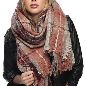 Check Oblong Scarf with Fringe